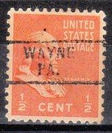 USA Precancel Vorausentwertung Preo, Locals Pennsylvania, Wayne 729 - Vereinigte Staaten