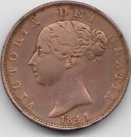 Grande Bretagne - 1/2 Penny - 1841 - 1816-1901 : Frappes XIX° S.