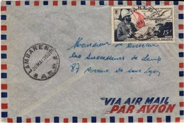 AEF Afrique Equatoriale Française Poste Aérienne 55 Lettre GABON Cachet LAMBARENE 20 LIBREVILLE 21 Mai 1952 - A.E.F. (1936-1958)