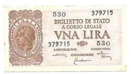 1944 - ITALIA Luogotenenza - Banconota LIRE 1 DiCristina Cavallaro Parisi - [ 1] …-1946 : Kingdom