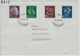 1948 Pro Juventute J125-J128/514-517 Bern 19.I.49 To Herzogenbuchsee - Pro Juventute