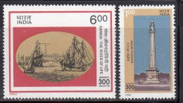 India MLH 1990, Set Of 2, Calcutta Tricentenary, Monument, Minar, Old Fort, History, Ship, - India