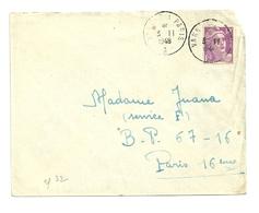 MORBIHAN - Dépt N° 56 = VANNES à PARIS 1948 =  CACHET MANUEL AMBULANT / BRIGADE A - Postmark Collection (Covers)