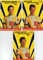 Cyclisme 1988 Equipe Du Système U Gitane Charly Mottet Joël Pélier Christophe Lavainne (3 Cartes) - Cycling