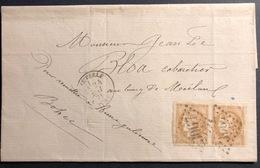 1870 Bordeaux  N°43 En Paire Sur Lettre Du Tribunal De Quimperlé Tres Frais - 1870 Emission De Bordeaux
