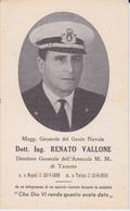 Ricordo Di Defunto Maggiore Generale Del Genio Civile 1956 Militare Taranto - Avvisi Di Necrologio