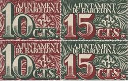 BLOQUE DE 4 BILLETES DEL AJUNTAMENT DE BARCELONA DE 10 Y 15 CENTIMOS DEL AÑO 1937 SIN CIRCULAR - [ 3] 1936-1975 : Régimen De Franco
