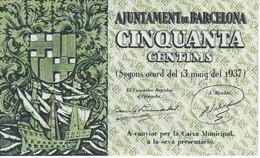 BILLETE DE AJUNTAMENT DE BARCELONA DE 0,50 PESETAS DEL AÑO 1937 SIN CIRCULAR - [ 3] 1936-1975 : Régimen De Franco