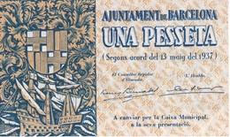 BILLETE DE AJUNTAMENT DE BARCELONA DE 1 PESETA DEL AÑO 1937 SIN CIRCULAR - [ 3] 1936-1975 : Régimen De Franco