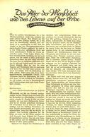 Das Alter Der Menschheit Und Des Lebens Auf Der Erde / Artikel, Entnommen Aus Zeitschrift /1937 - Livres, BD, Revues