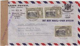 TRINITAD ET TOBAGO : PAR AVION . CENSUREE . POUR LA SUISSE . VIA LISBONNE . 1941 . - Trinité & Tobago (...-1961)