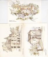 LOT DE 3 CPA TOILEES SIGNEES  M.F. CARBONNELLE THEME DE LA BOURGOGNE ACHAT IMMEDIAT - Illustrators & Photographers
