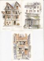 LOT DE 3 CPA TOILEES SIGNEES  M.F. CARBONNELLE THEME DE LA BOURGOGNE ACHAT IMMEDIAT - Illustrateurs & Photographes