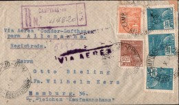 ! 1935 Registered Cover Campinas, Brasilien, Brazil, Via Aerea Condor Lufthansa, Luftpostbrief, Sao Paulo, Hamburg, Air - Lettres & Documents