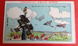FELIX POTIN Chromo Illustrateur Sport Aviation Aéroplane Avion  Coq Village - Chocolat