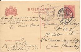 NEDERLAND PAYS-BAS CARTE-LETTRE 1916 VERS 2è DIVISION ARMEE BELGE VIA FRANCE - Storia Postale