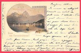 [DC11939] CPA - SVIZZERA - GRUSS VOM VIERWALDSTATTERSEE BRUNNEN - PERFETTA - Viaggiata 1899 - Old Postcard - SZ Schwyz
