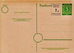Germany Mint Postal Stationery Card ( Ganzsache) From 1946 With 7 Pfg Postage Prepaid Overprint - Zone AAS
