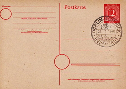 Germany Cancelled Postal Stationery Card ( Ganzsache) From 1946 - American,British And Russian Zone