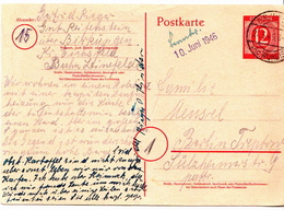 Germany Used Postal Stationery Card ( Ganzsache) From 1946 - American,British And Russian Zone