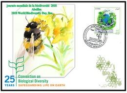 FDC Algeria -journée Mondiale De La Biodiversité Abeilles - 2018-Algeria FDC World Biodiversity Day,Bee - Abeilles
