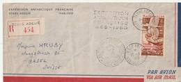 TAAF Expedition Antarctique Francaise 1948 1950 Pour La Suisse RRR - Terre Australi E Antartiche Francesi (TAAF)