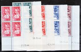 Andorre 100 104 , 106 108 Bloc De 4 Coin Daté  1944 Neuve * * TB MNH Cote 16.5 - Andorre Français