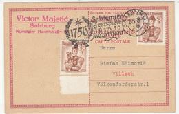 Salzburger Festspiele 1956 Mozart Special Postmark On Postcard Travelled To Villach 180525 - 1945-60 Briefe U. Dokumente