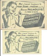 Buvard BEAUTE : 2 BUVARDS SAVON PALMOLIVE - 2 Formats Différents     Ref P 71 - Parfum & Kosmetik