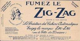 Buvard TABAC - FUMEZ LE  ZIG-ZAG  Tête De Zouave - Impression BLEU MARINE - BRAUNSTEIN FRERES Paris   TTBE - Tobacco