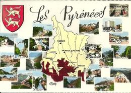 Les Pyrénées (Haute Pyrenees France) Vues Et Carte Geographique, Vedute E Cartina Geografica, Views And Geographical Map - Francia