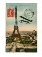TOUR EIFFEL - Aéroplane De Type Militaire Se Rendant à Issy Les Moulineaux Cachet Sommet De La Tour Eiffel - Tour Eiffel