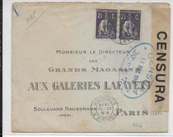 PORTUGAL - 1918 - ENVELOPPE IMPRIMEE GALERIES LAFAYETTE Avec CENSURE N°57 => PARIS - 1910-... République