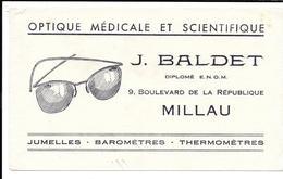 Buvard Ancien  OPTIQUE MEDICALE Et SCIENTIFIQUE - J.BALDET à MILLAU   Lunettes - Blotters