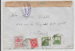 ESPAGNE - 1937 - ENVELOPPE De ALICANTE Avec VIGNETTE LOCALE + CENSURE De VALENCIA => PARIS - 1931-50 Storia Postale