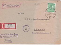 ALLEMAGNE ZONE AAS 1946 LETTRE RECOMMANDEE DE ASSLING AVEC CACHET ARRIVEE WORMS - Zone AAS