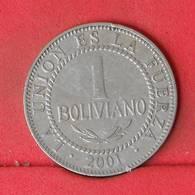 BOLIVIA 1 BOLIVIANO 2001 -    KM# 205 - (Nº23034) - Bolivia