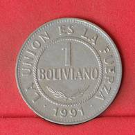 BOLIVIA 1 BOLIVIANO 1991 -    KM# 205 - (Nº23035) - Bolivia
