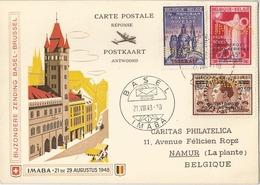 Schweiz & Belgien 1948: Antwort-Karte Mir 3 Gelochten Bovesse-Marken (PERFIN) Mit Sonder-o BASEL 21.VIII.48 IMABA - Perfins