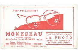 Buvard Ancien  OPTICIEN LUNETIER - PHOTO - MONEREAU LE CREUSOT - Lunettes, Appareils Photo,   - IMP.TOUGY LE RAINCY - Buvards, Protège-cahiers Illustrés