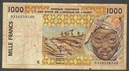 W.A.S. SENEGAL  P711Kc  1000  FRANCS  (19)93    FINE - Sénégal