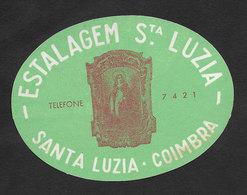 Portugal Etiquette Valise Hotel Estalagem Santa Luzia Coimbra Luggage Label - Hotel Labels