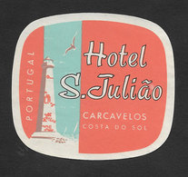Portugal Etiquette Valise Hotel São Julião Carcavelos Phare Lighthouse Luggage Label - Hotel Labels
