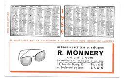 Buvard Ancien - OPTIQUE LUNETTERIE R.MONNERY à LAON - CALENDRIER 1959  TEST à 35cm - Buvards, Protège-cahiers Illustrés