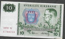 SWEDEN  P52c 10 KRONOR 1972 VF   NO P.h. ! - Suède