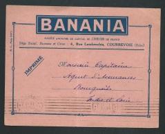"""Rare Imprimé """"Banania """" Publicitaire Oblitéré Imprimé PP Couebevoie En 1935  ( Trace De Plis ) - Ax14101 - Storia Postale"""