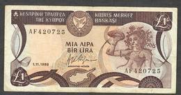 "CYPRUS P53a 1 LIRA 1.11.1989 FIRST DATE,FIRST PREFIX "" AF "" VF NO P.h. ! - Chypre"