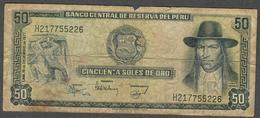 PERU P113  50 SOLESDE ORO 1977  FINE - Pérou