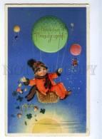 215840 NEW YEAR Boy BALLOON By F.B. Fritz BAUMGARTEN Vintage - Baumgarten, F.