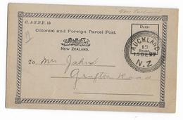 NEW ZEALAND - 1897 - RARE CARTE ENTIER De SERVICE Pour PERCEVOIR Des FRAIS De DOUANE - CUSTOMS - 1855-1907 Colonie Britannique